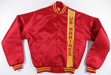 VTG 80S 90S UNITED STATES MARINES US MILITARY RED SATIN SNAP JACKET MADE IN USA