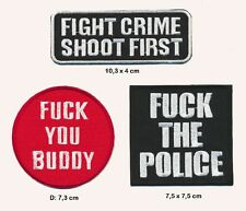 FUCK THE POLICE - FIGHT CRIME SHOOT FIRST Aufnäher Patches 3 Stück TURBOVERSAND