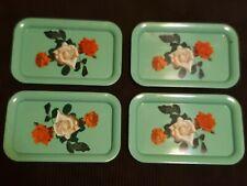 "4 Vintage Rectangle Green Metal lap Tray Floral Roses Design 14"" x 9 "" Nice"