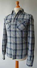Men's Blue Checked Superdry shirt size S, Small.
