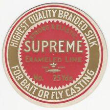 Vintage Supreme Enameled Bait or Fly Fishing Line Card Label