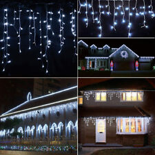 US Connectable 96-1000 LED Curtain Icicle String Fairy Light Xmas Cool White LA