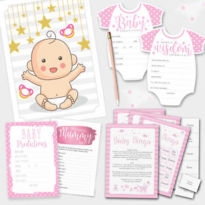 PINK BABY SHOWER GAMES - Girl Baby Bingo - Baby Prediction Cards - Pin the Dummy