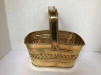 Brass Basket Design Moveable Handle rectangular shape vintage made in India