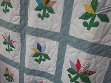 "'30's ""Nosegay"" w/stems & leaves antique applique quilt,all by hand,twin/dbl, SC"