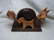Vintage German Wood Carved Bar Set Dog Corkscrew Bottlespout Coaster #BI