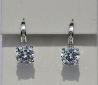 Echt 925 Sterling Silber Ohrringe mit Zirkonia Rund crystal Hochzeit Nr 102