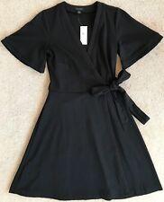ANN TAYLOR BLACK FLUTTER SLEEVE WRAP DRESS NWT! $98 0
