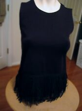 J. Crew Black Sleeveless Knit Tank Top w Fringe XXS  NWT $85 E6249 Style