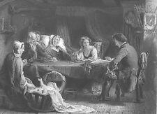 Sabbath Night, FAMILY KIDS READS BIBLE IN COTTAGE ~ Old 1862 Art Print Engraving