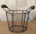 Primitive Country Wire Basket w spring Handles