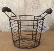 Primitive Country Wire Basket w/spring Handles