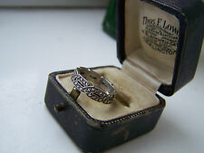 BEAUTIFUL VINTAGE ORNATE STERLING SILVER FULL ETERNITY MARCASITE RING SIZE J