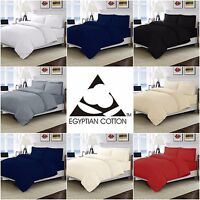 LUXURY DYED 100% EGYPTIAN COTTON T200 PERCALE SOFT DUVET QUILT COVER BEDDING SET