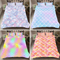 3D Mermaid Fish Scales Bedding Set Duvet Cover Pillowcases Twin/Full/Queen/King