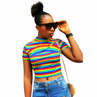 Women's Fashion Short Sleeve Rainbow Stripe Print Casual Club Crop Tops T-shirt