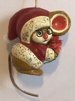 Vintage Christmas Ornament Santa Mouse With Glasses And A Leather Tail