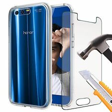 Ultra Thin Clear TPU Gel Skin Case Cover & Tempered Glass for Huawei Models