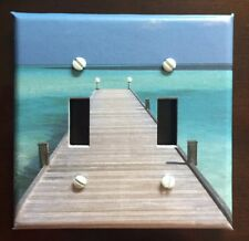 Beach Light Switch Cover Plate Pier Ocean Sand Wooden Plank Nautical Beach Decor