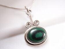 Green Malachite Swirled 925 Sterling Silver Necklace Corona Sun Jewelry