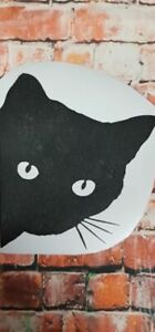BLACK CAT FACE HALLOWEEN vinyl decal sticker wall car 24X21cm UV &WATER proof