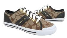 New NIB Coach Fillmore Khaki Brown Signature & Patent Leather Sneakers RARE
