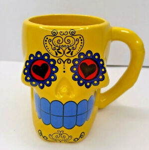 Day of the Dead Dia de Muertes yellow sugar skull mug 12 ounces