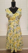 Robbie Bee Size 6 Yellow White Green Floral Sleeveless Spring/Summer Lined Dress