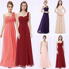 Womens Bridesmaid Dresses Long Chiffon One Shoulder Homcoming Party Prom Dress