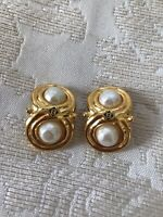 Vintage Fendi Gold Brass Pearl Stud Studs Clip On Earrings Marked Signed
