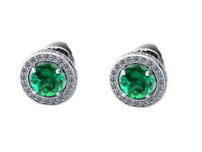 14KT White Gold 2.30 Carat Natural Green Emerald EGL Certified Diamond Studs
