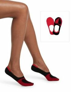 Hue Womens One Size Fits Most 2 Pack Sneaker Liner Socks Red Hot Hearts U18854