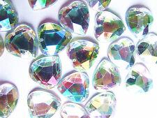 40 AB Coated Acrylic Rhinestone Gems 16 mm Love Heart Flatback Sew On 2-Hole