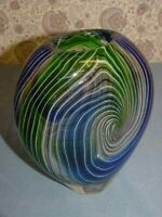 "Vase Heavy Glass Clear White Black Stripes Blue Green Swirl 7 1/2"" Tall Art NICE"