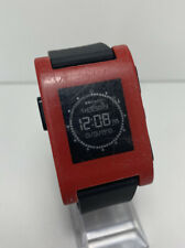Pebble Classic Red Plastic Case Smart Watch Black Classic Buckle 301RD READ