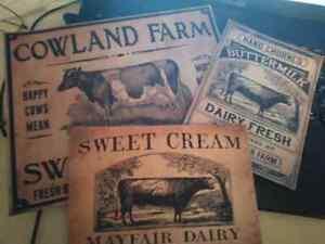 3PC Set primitive cow dairy farm cream milk Art Print uu frame vintage look farm