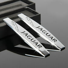 2pcs Silver Metal Car sticker Fender emblem badge Fit for Jaguar XJ8 XJR XJ6 XF
