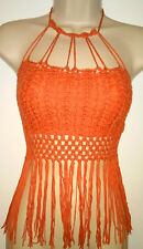 Festival fringe Crochet Knit Halter Crop top boho Cut Out Beach Hippie Sz M NWT