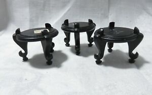 """3 VERY SMALL 1 5/8"""" VINTAGE CARVED WOOD LEGGED DISPLAY STANDS"""