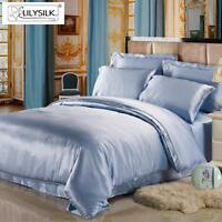Silk Duvet Cover 100% Mulberry Pure Silk Light Blue 19momme Twin/Full/Queen/King