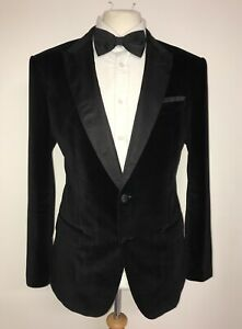 HUGO BOSS - Mens BLACK Plush VELVET DINNER JACKET - 42 Short -WORN ONCE STUNNING