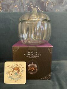 HAUNTED HOUSE GLASS PUMPKIN - BRAND NEW-