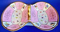 Antique European Porcelain Double Serving Dish Pink/Gold Trim