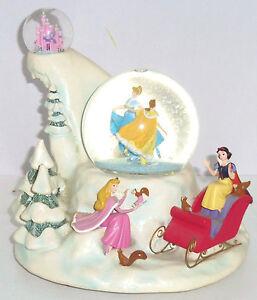 Disney Store Cinderella Belle Snow White Snowglobe Musical Revolving