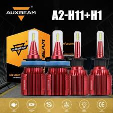 AUXBEAM LED H11 H9 H8 + H1 Combo Headlights Bulbs HID 6500K High Beam 100W F-A2