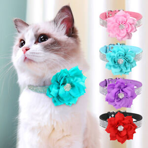 Suede Leather Dog Cat Collar Cute Bling Rhinestone Necklace Adjustable w/ Flower