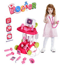 Electric Doctor Nurse Medical Trolley Toy Girl's Pretend Playset Role Play Set
