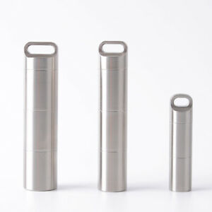 AM_ WATERPROOF STAINLESS STEEL PILL BOX CASE BOTTLE HOLDER KEYCHAIN CONTAINER FA
