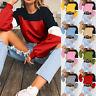 Donna Maglioncino Patchwork Top Corto T-Shirt Felpa Manica Lunga Maglione