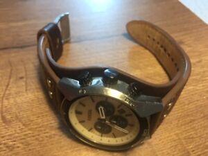 Fossil Armbanduhr für Herren, Lederarmband, gebraucht